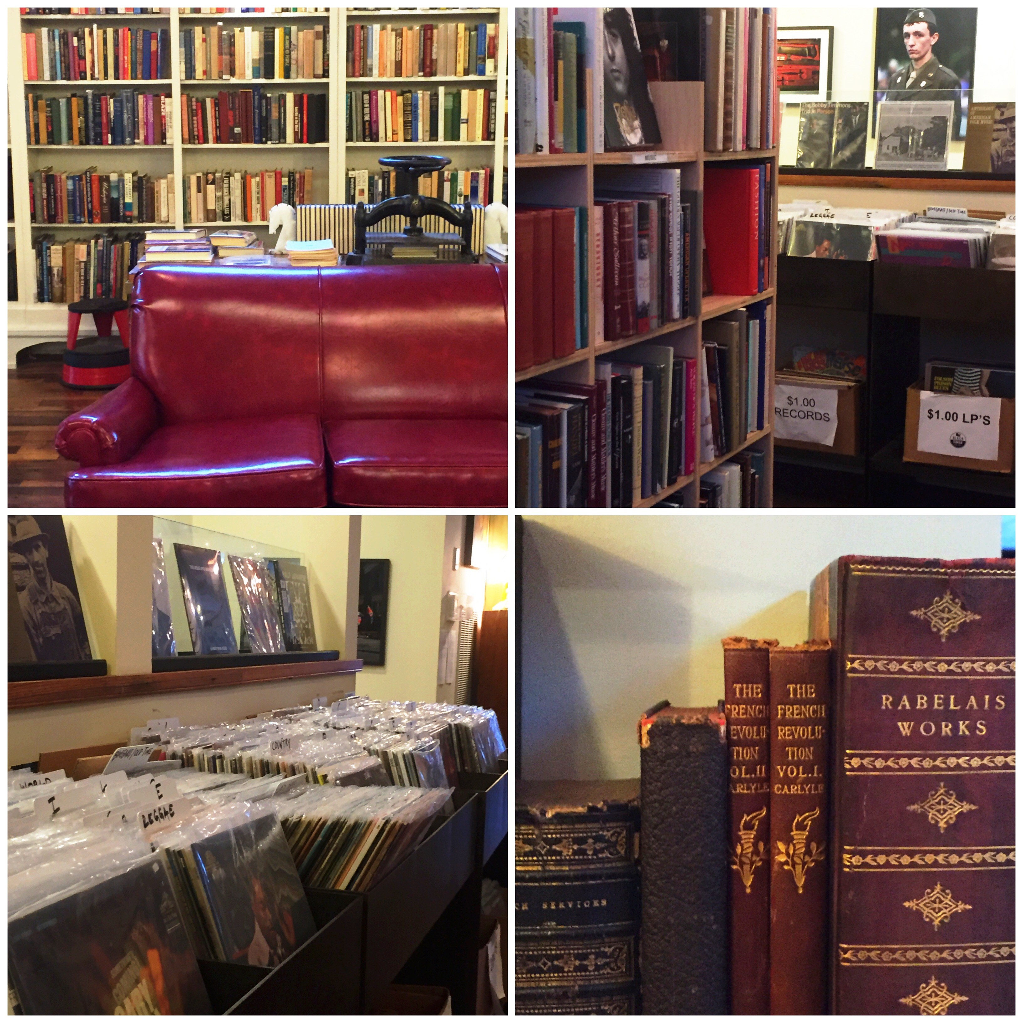 From upper left | Cozy up on the sofa, an aisle of musical biographies, great vinyl selection, rare books