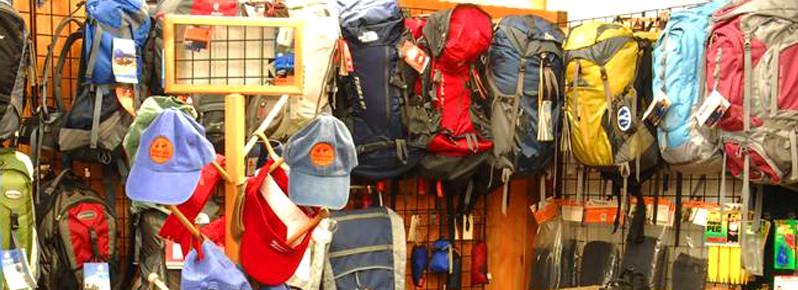 Assortment of gear available at Wilderness Adventure
