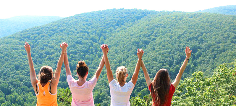 Girls at Overlook after hike - Outdoor Recreation