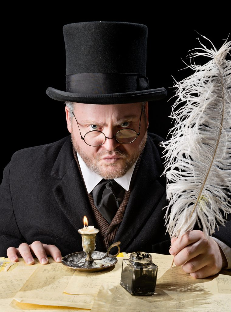 Andrew Goldwasser as Scrooge in A CHRISTMAS CAROL. Photo by Michael Bailey